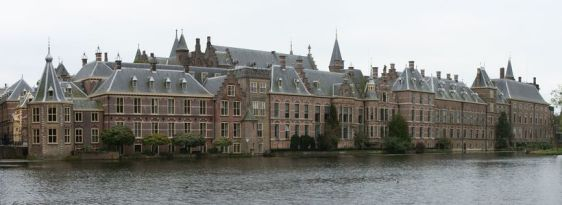 Panoramic view of the Binnenhof, The Hague, where the Dutch Parliament meets. In 2015, a Dutch federal court in The Hague ordered the government to lower its carbon emissions 25 percent below 1990 levels by 2020.